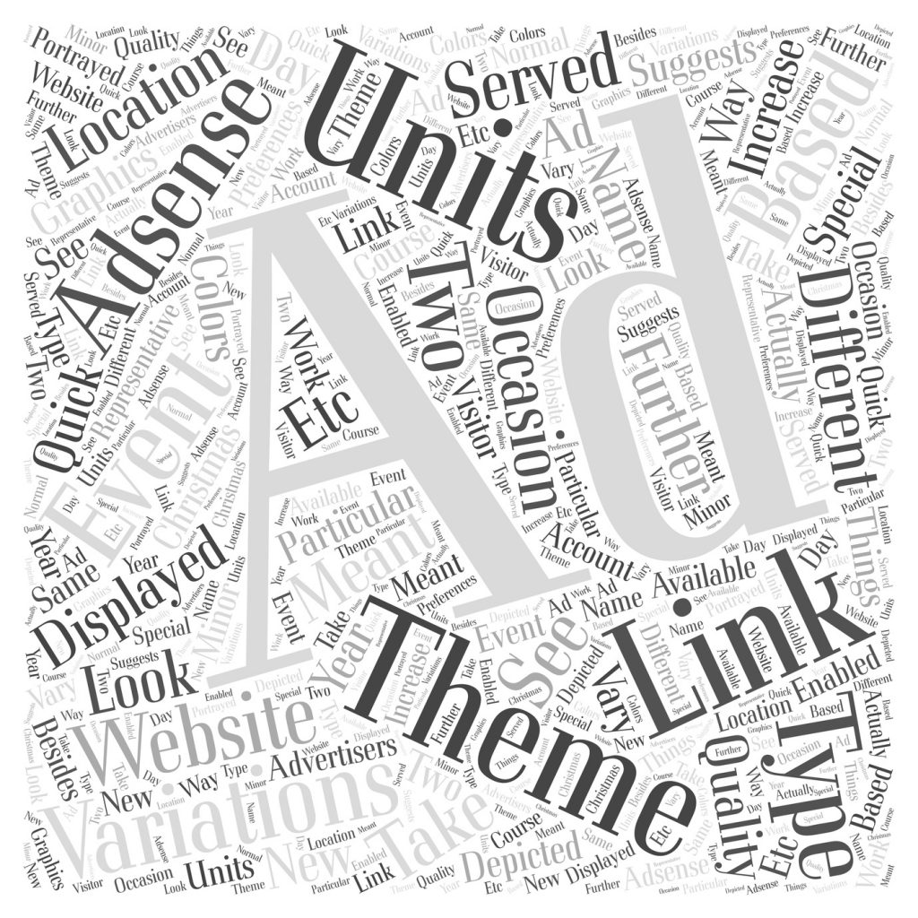 AdSense Ad variations Link Units and themed Ad Units Word Cloud Concept