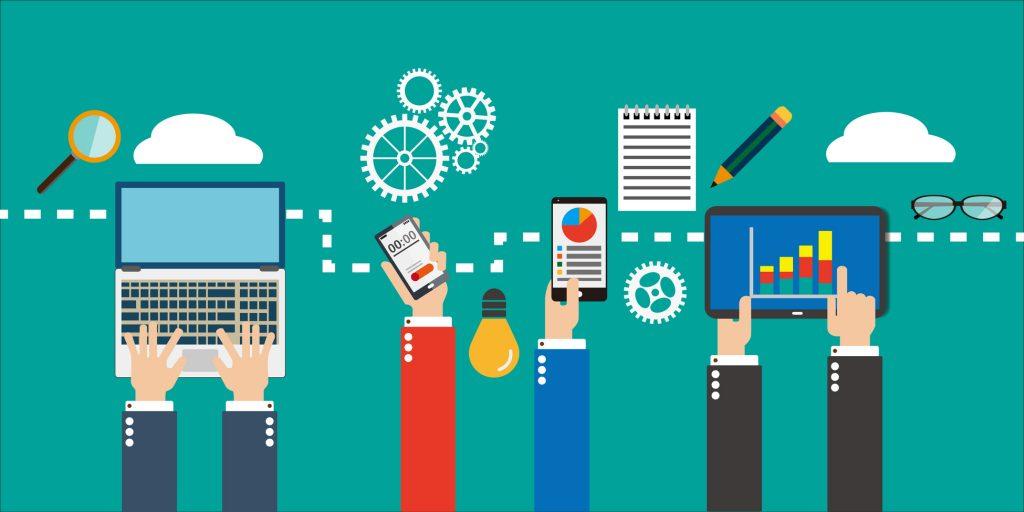 mobile app market concept background
